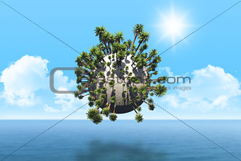 3D palm tree globe over sea