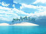 3D palm tree island