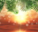 3D background of ferns on sunset ocean background