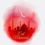 Watercolor Eid Mubarak background