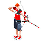 Archery Sports 3D Isometric Vector Illustration