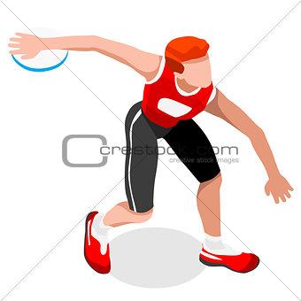 Athletics Discus Throw 2016 Sports 3D Vector Illustration