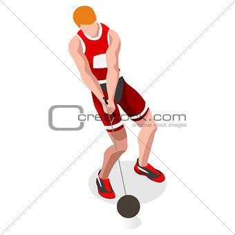 Athletics Hammer Throw 2016 Sports 3D Vector Illustration