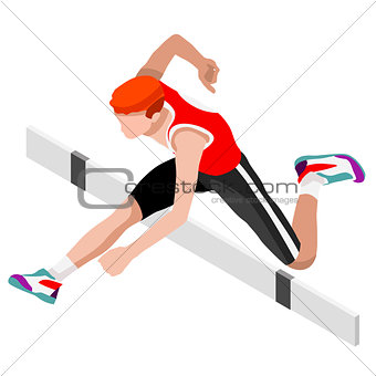 Athletics Hurdle Jump 2016 Sports 3D Vector Illustration