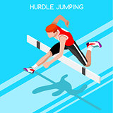Athletics Hurdle Jump 2016 Summer Games 3D Vector Illustration