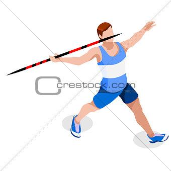 Athletics Javelin 2016 Sports 3D Vector Illustration