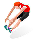 Athletics Jump 2016 Sports 3D Isometric Vector Illustration