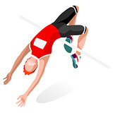 Athletics Jump 2016 Sports Isometric 3D Vector Illustration