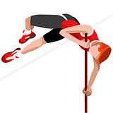 Athletics Pole Vault 2016 Sports 3D Vector Illustration