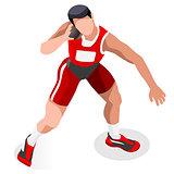 Athletics Shot Put 2016 Sports 3D Vector Illustration