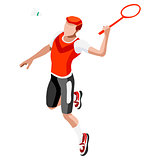 Badminton 2016 Sports 3D Isometric Vector Illustration