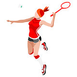 Badminton 2016 Sports Isometric 3D Vector Illustration