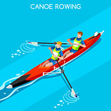 Canoe Coxless Pair 2016 Summer Games 3D Vector Illustration