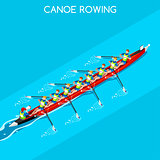 Canoe Coxswain Eight 2016 Summer Games 3D Vector Illustration