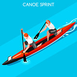 Canoe Double 2016 Summer Games Isometric 3D Vector Illustration