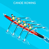 Canoe Quadruple Sculls 2016 Summer Games 3D Vector Illustration