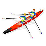 Canoe Rowing 2016 Sports Isometric 3D Vector Illustration