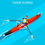 Canoe Rowing Single 2016 Summer Games 3D Vector Illustration