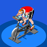 Exercise Bike Spinning Fitness Class 3D Flat Vector Image