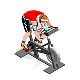 Exercise Bike Spinning Fitness Class Isometric Vector Image