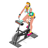 Exercise Bike Spinning Gym Class Isometric 3D Vector Image