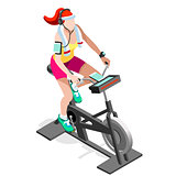 Exercise Bike Spinning Gym Class Isometric Vector Image