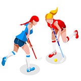 Field Hockey 2016 Sports 3D Isometric Vector Illustration