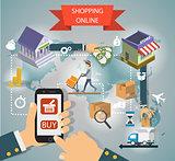 Set of flat design concepts online shopping, mobile marketing and digital .
