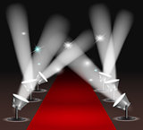 Red carpet with spotlights