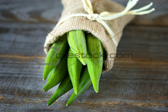 A heap of okra or Lady's fingers in a bag
