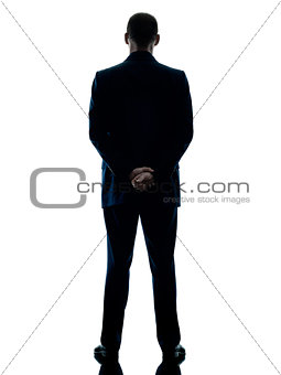 business man standing rear view isolated