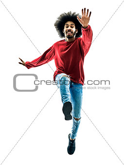 african man running jumping saluting isolated