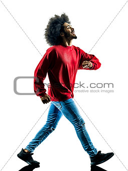 african man walking walker happy isolated