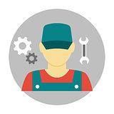 Mechanic avatar icon flat