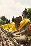 Rows of Buddha Images in Wat Yai Chai Mongkol