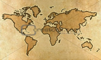 Parchment world map