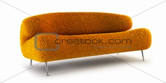 modern shaggy couch