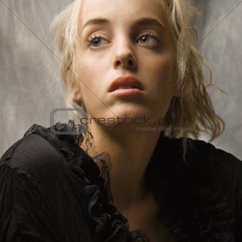 Blond woman.