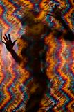 Woman and tye-dye cloth.