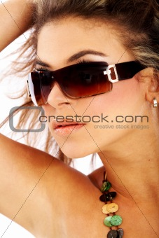 smiling woman portrait - sunglasses