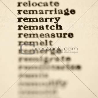 List of words starting with re