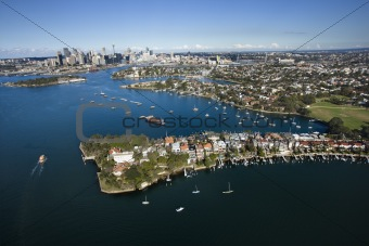 Aerial of Snails Bay, Australia.