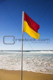 Flag on beach.