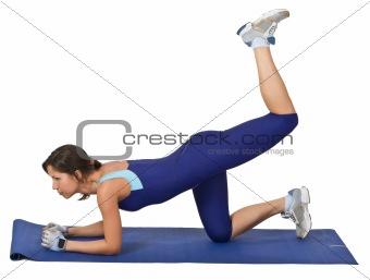 Gril doing aerobics