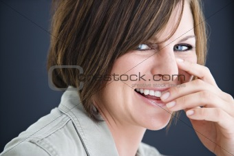 Smiling brunette woman.