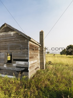 Old house in field.