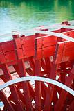 Paddlewheel of riverboat.