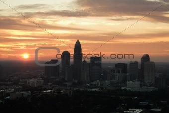 Cityscape at dusk.