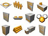 Logistics Process Icons For Supply Chain Diagram in Orange Grey