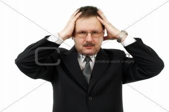 Business men is pain of head
